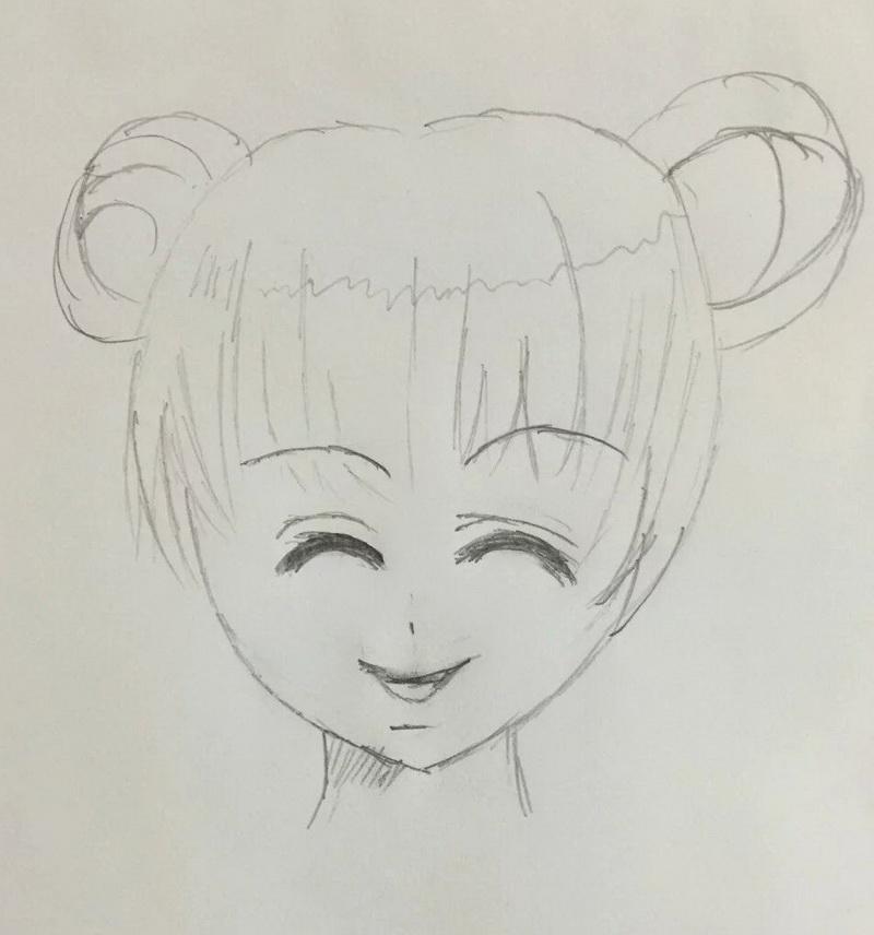 上次用铅笔画的小女孩